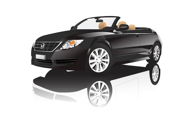 Imagem tridimensional do carro preto isolado no fundo branco