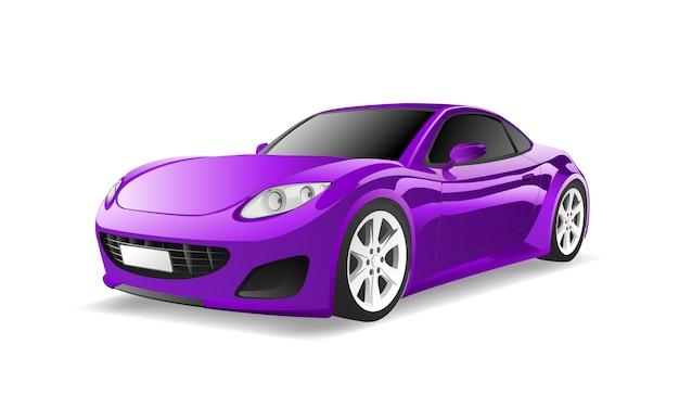 Imagem tridimensional do carro roxo isolado no fundo branco