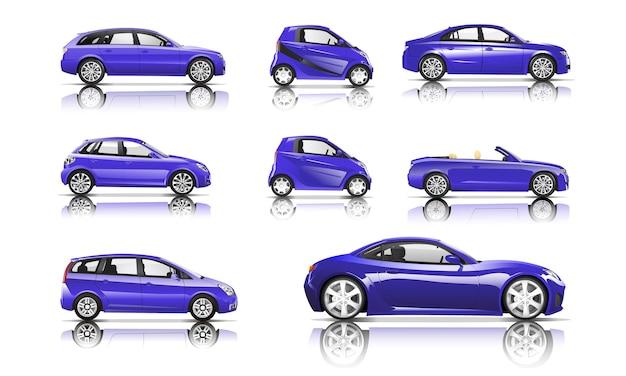 Imagem tridimensional do carro violeta isolado no fundo branco