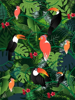 Imagem tropical do vetor dos pássaros das folhas de palmeira da ilustração do verão.