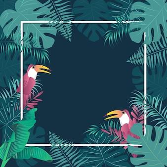 Imagem tropical do vetor dos pássaros das folhas de palmeira do fundo do verão.
