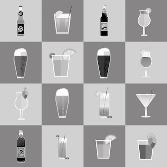 Imagem variada de cocktails e cervejas