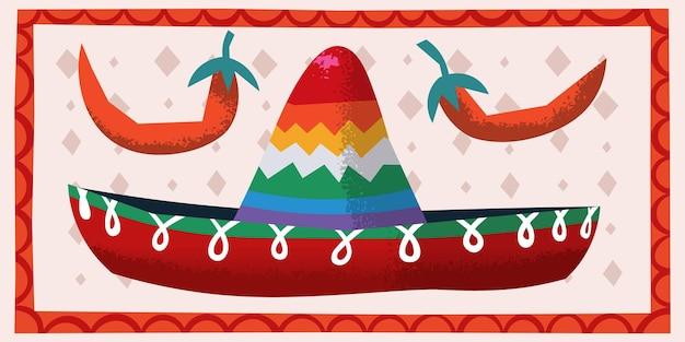 Imagem vetorial com pimentas infantis e chapéu festivo sombrero ilustração para cartões de convites de festa
