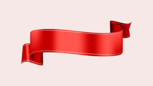 Imagem vetorial de banner de fita, elemento gráfico de rótulo vermelho