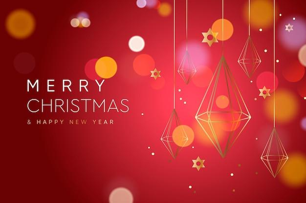 Imagem vetorial de banner de natal com decoração geométrica de cristal de ouro