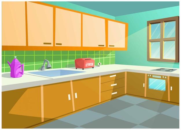 Imagem vetorial de cor brilhante da cozinha em casa.