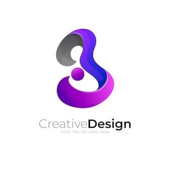 Imagem vetorial de design de logotipo b, logotipos coloridos em 3d