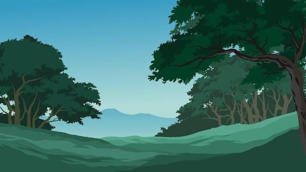 Imagem vetorial de floresta com campo vazio