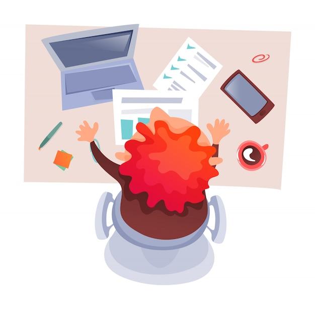 Imagem vetorial de homem na área de trabalho, fluxo de trabalho, área de trabalho, análise de dados, dispositivos, gráfico.