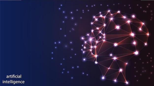Imagem vetorial de inteligência artificial na forma de uma luminosa cabeça humana. eps 10