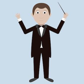 Imagem vetorial de um maestro com uma batuta. estilo moderno e simples.