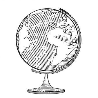 Imagem vetorial do globo no estilo de gravura.