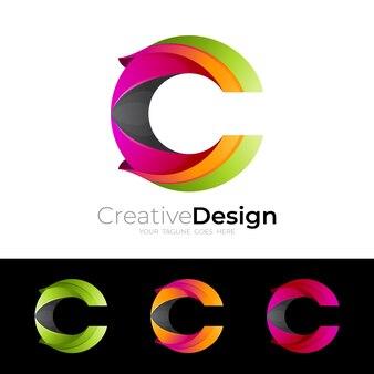 Imagem vetorial do logotipo c, design colorido 3d