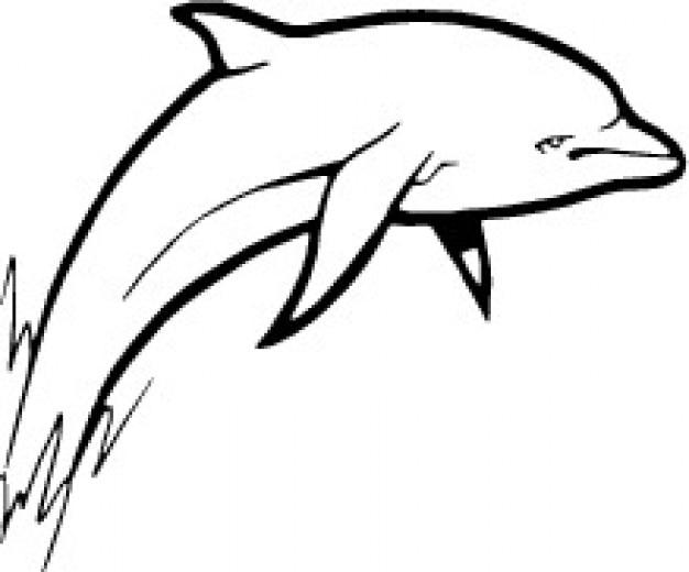 Imagem vetorial golfinho que salta branco