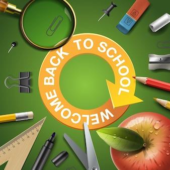 Imagem vetorial modelo de volta à escola