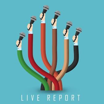 Imagem vetorial - relatório de transmissão ao vivo - braços curvados com microfone.