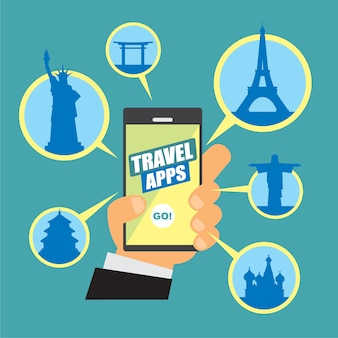 Imagem vetorial sobre aplicativos de viagem