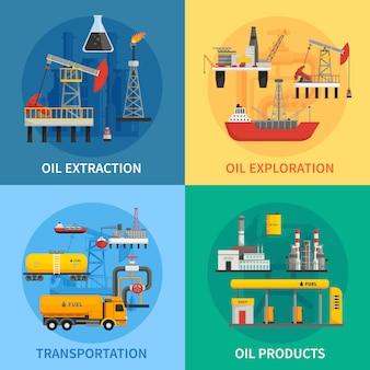 Imagens 2x2 planas apresentando produtos de transporte de extração de exploração de óleo de indústria petrolífera petróleo ve