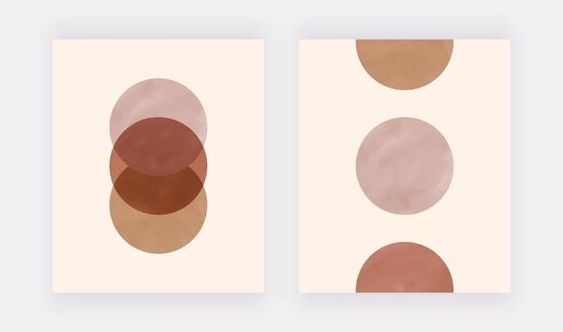 Imagens abstratas de boho na parede com formas redondas