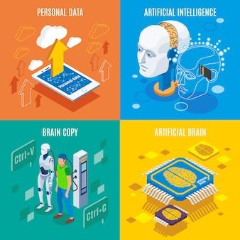 Imagens conceituais de tecnologias futuristas e cérebro artificial
