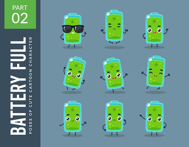 Imagens da mascote da bateria cheia. definir.