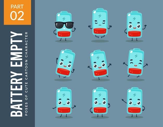 Imagens da mascote da bateria vazia. definir.