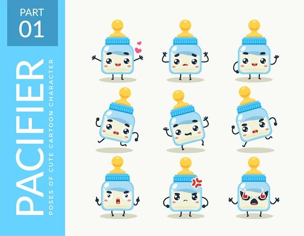 Imagens da mascote da chupeta. definir.