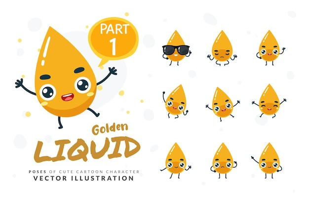 Imagens da mascote do líquido amarelo. definir.