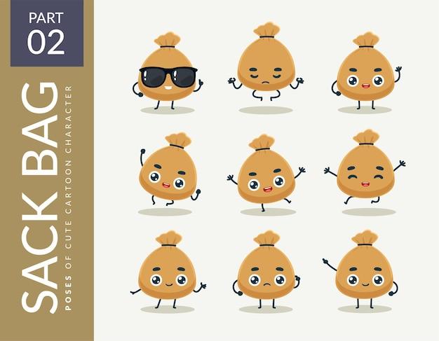 Imagens da mascote do saco de saco. definir.