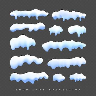 Imagens de capas e pilhas brancas de neve transparente conjunto realista ilustração vetorial
