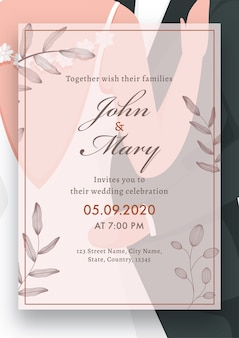 Imagens de casal, cartão de casamento impresso, layout de modelo com detalhes do local.