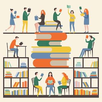 Imagens de conceito com mascotes masculinos e femininos que lendo livros na biblioteca