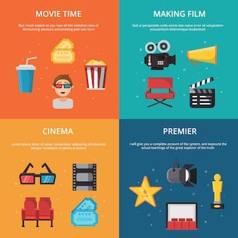 Imagens de conceito com símbolos da produção de programa de tv.