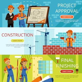 Imagens de conceito de etapas de construção