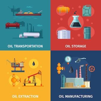 Imagens de conceito de fabricação de petróleo. exploração de combustível