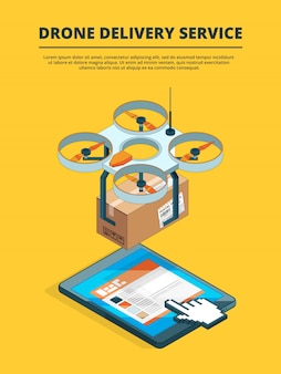 Imagens de conceito de serviço de logística drone