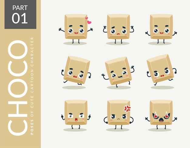 Imagens de desenhos animados de chocolate branco. definir.