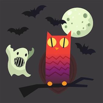Imagens de halloween para seus projetos coruja em um brunch fantasma lua cheia e morcegos ilustrações vetoriais