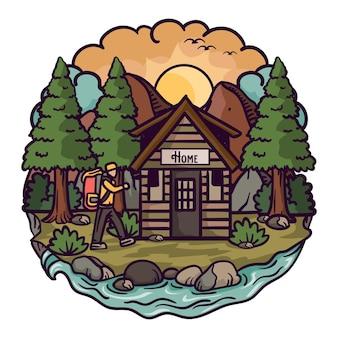 Imagens de inspiração de design de logotipo para viagens e hotéis com estilo de ilustração colorida