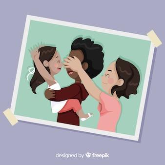 Imagens de mão desenhada de retrato de família