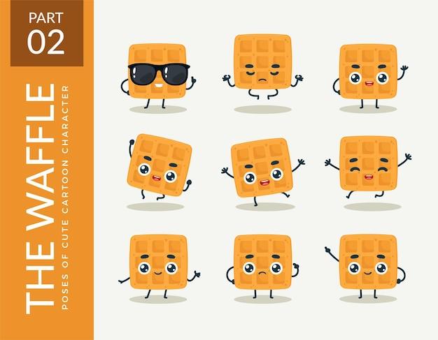 Imagens de mascote do waffle. definir.
