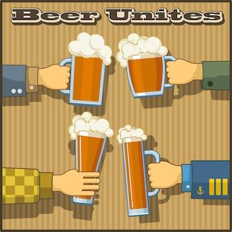 Imagens de tema de cerveja com o slogan. 4 mãos masculinas segurar canecas e copos de cerveja com cerveja em um fundo marrom