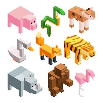 Imagens de vetor definido de animais estilizados engraçados.