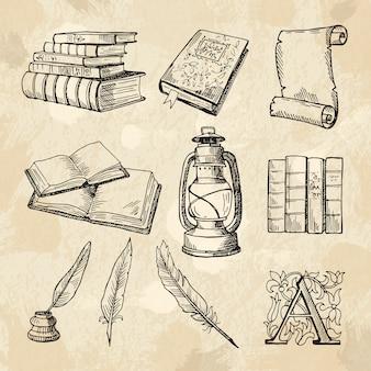 Imagens do conceito de literatura. livros de desenhos a mão vintage e diferentes ferramentas para escritores