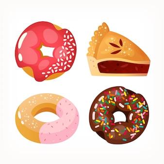Imagens do menu da padaria torta de chocolate e morango e donuts imagens vetoriais isoladas