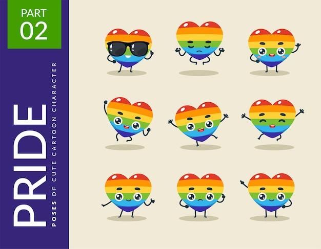 Imagens dos desenhos animados do coração do orgulho. definir.