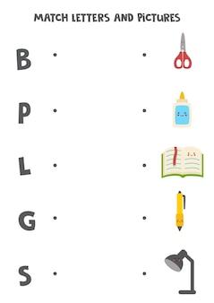 Imagens e letras correspondentes. jogo educativo para crianças.