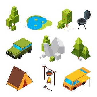 Imagens isométricas de camping. jardim, pedras e rochas, tenda. imagens 3d de vetor