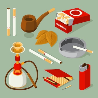 Imagens isométricas de diferentes acessórios para fumantes