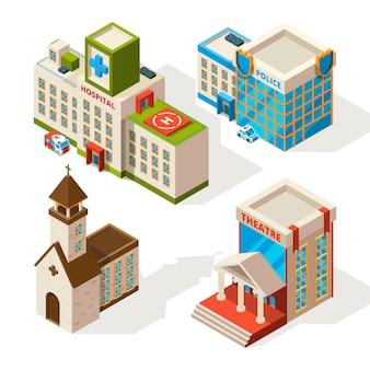 Imagens isométricas de edifícios municipais